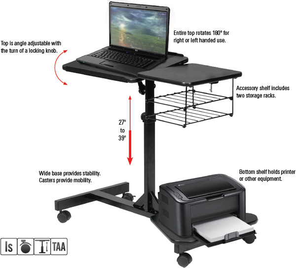 Balt 42052 LapMaster Height Adjustable Laptop Stand