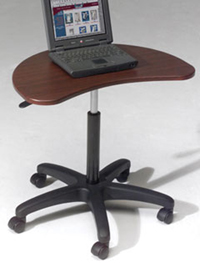 Balt POP-M Mahogany Portable Laptop Desk Stand. Portable desk that's there when you need it-goes where you go. Pneumatic lever adjustment for perfect height every time. Curved cutout for user comfort