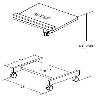 Dimensional Diagram for Balt 43062 Scamp Laptop Stand - Adjusts from 27