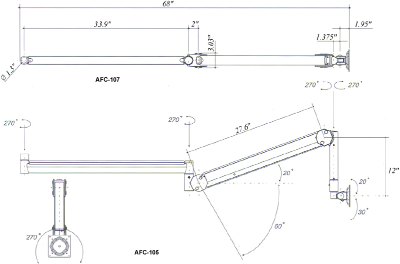 Technical Drawing for AFC LCD Ceiling Mount AFC-107 and LCD Wall Mount AFC-105
