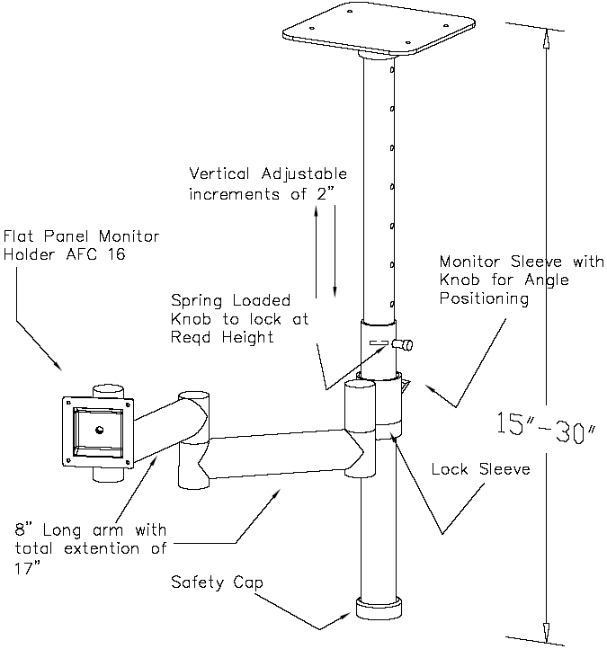 Technical Drawing for AFC CM-Z LCD Ceiling Mount Monitor Arm