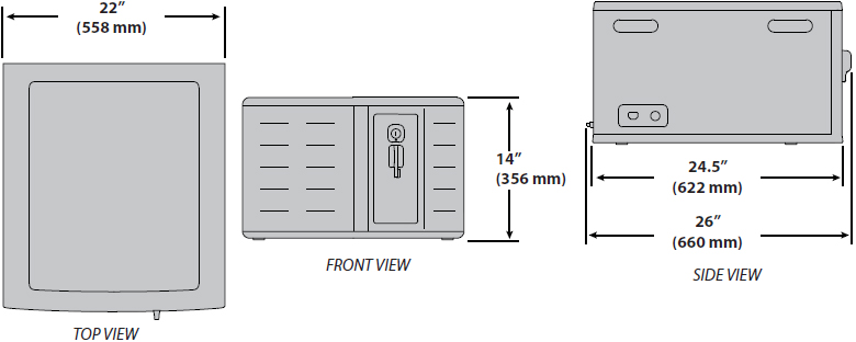 Technical drawing for Ergotron DM12-1012-1 Zip12 Charging Desktop Cabinet