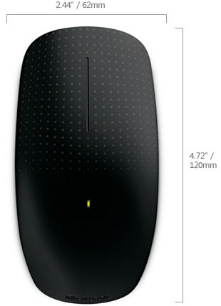 Technical Drawing of Microsoft 3KJ-00001 Comfortable Touch Mouse