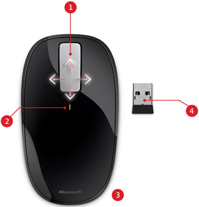 Microsoft U5K 00001 or U5K 00002 Sleek Low Profile Explorer Touch Computer Mouse