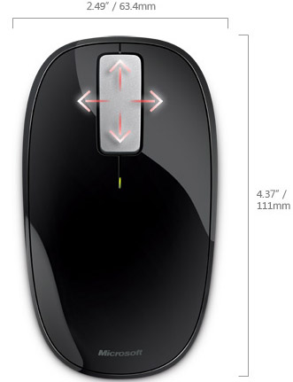 Technical Drawing of Microsoft Sleek Low Profile Explorer Touch Mouse