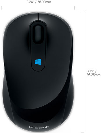 Technical Drawing for Microsoft 43U-00001 Sculpt Mobile Mouse