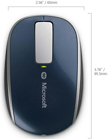Technical Drawing for Microsoft 6PL-00003 Sculpt Touch Bluetooth Mouse