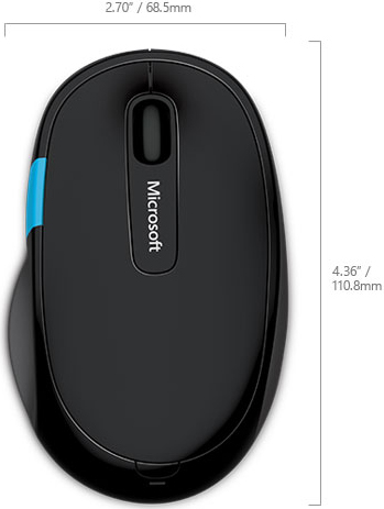 Technical Drawing for Microsoft H3S-00003 Sculpt Comfort Bluetooth Mouse