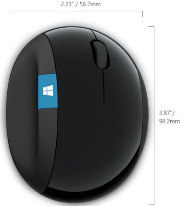 Technical Drawing for Microsoft L6V-00001 Sculpt Ergonomic Wireless Mouse