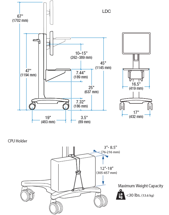 Technical Drawing for Ergotron 24-182-055 Neo-Flex Mobile WorkSpace