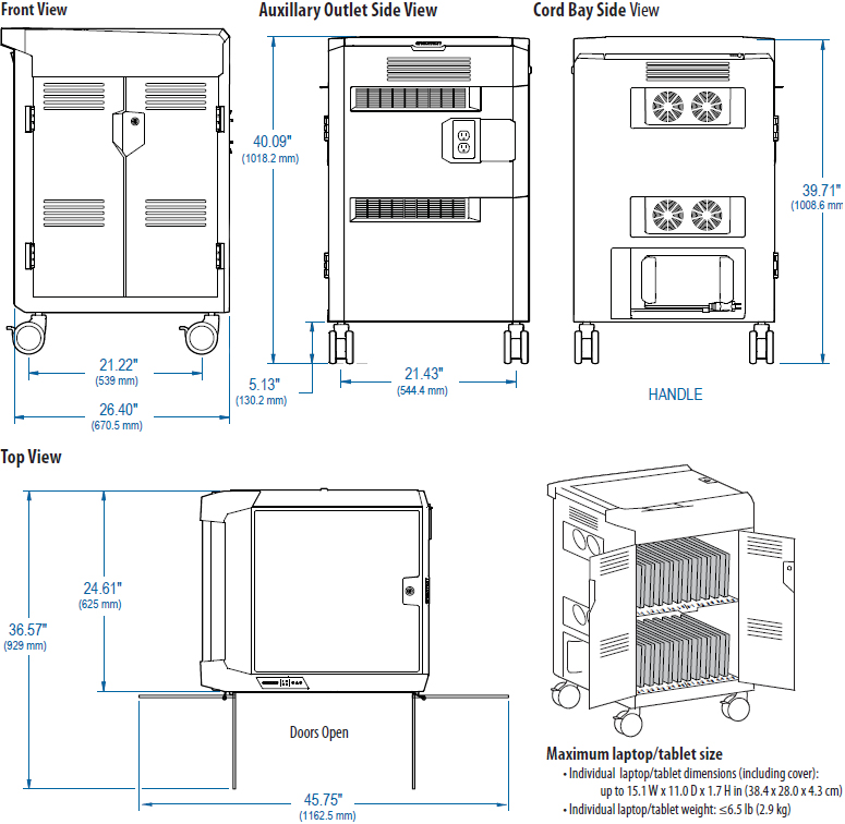 Technical Drawing of Ergotron PS Laptop Management Cart