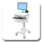 Ergotron SV31-6310-0 StyleView PHD Healthcare LCD Cart with 1 Drawer and Non-powered (white/grey)