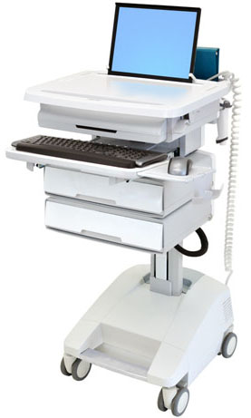 Ergotron SV32-51122 StyleView Patient Healthcare Delivery PHD Laptop Cart with 2 Drawers and LiFe Powered (white and grey)