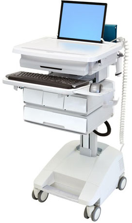 Ergotron SV32-51124 StyleView Patient Healthcare Delivery PHD Laptop Cart with 4 Drawers and LiFe Powered (white and grey)