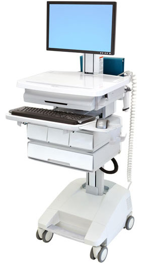 Ergotron SV32-51224 StyleView Patient Healthcare Delivery PHD LCD Cart with 4 Drawers and LiFe Powered (white and grey)
