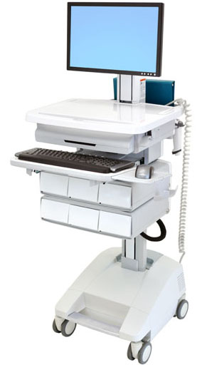 Ergotron SV32-51226 StyleView Patient Healthcare Delivery PHD LCD Cart with 6 Drawers and LiFe Powered (white and grey)