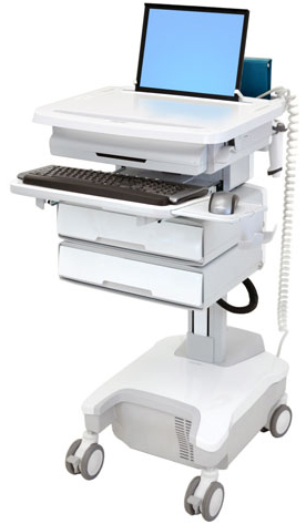 Ergotron SV32-81122 StyleView Patient healthcare Delivery PHD Laptop Cart with 2 Drawers and Powered (white/grey)
