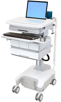 Ergotron SV32-81124 StyleView Patient healthcare Delivery PHD Laptop Cart with 4 Drawers and Powered (white/grey)