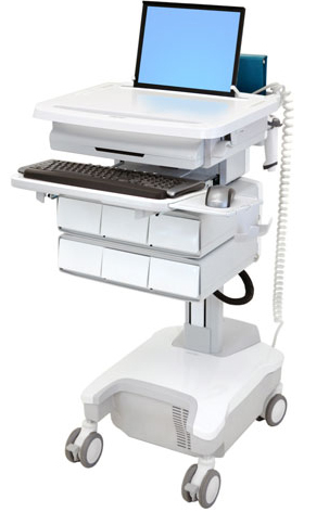 Ergotron SV32-81126 StyleView Patient healthcare Delivery PHD Laptop Cart with 6 Drawers and Powered (white/grey)
