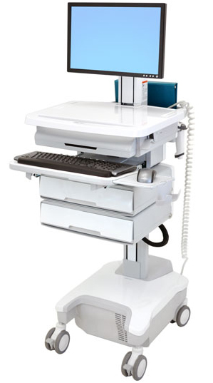 Ergotron SV32-81222 StyleView Patient healthcare Delivery PHD LCD Cart with 2 Drawers and Powered (white/grey)