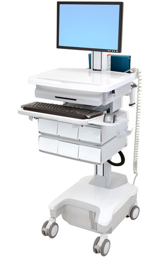 Ergotron SV32-81226 StyleView Patient healthcare Delivery PHD LCD Cart with 6 Drawers and Powered (white/grey)