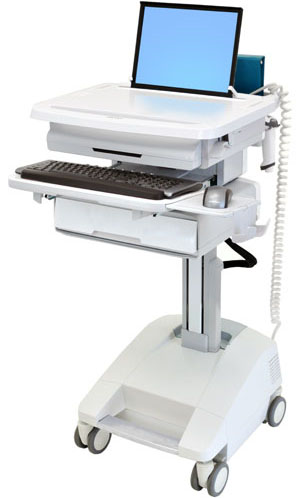 Ergotron SV32-91111 StyleView Patient Healthcare Delivery PHD Laptop Cart with 1 Drawer and Powered (white and grey)