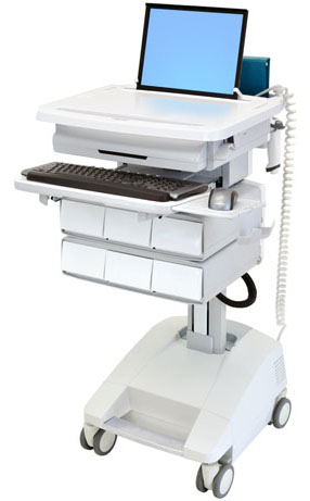 Ergotron SV32-91126 StyleView Patient Healthcare Delivery PHD Laptop Cart with 6 Drawers and Powered (white and grey)
