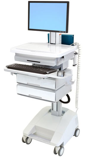Ergotron SV32-91222 StyleView Patient Healthcare Delivery PHD LCD Cart with 2 Drawers and Powered (white and grey)