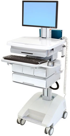 Ergotron SV32-91224 StyleView Patient Healthcare Delivery PHD LCD Cart with 4 Drawers and Powered (white and grey)