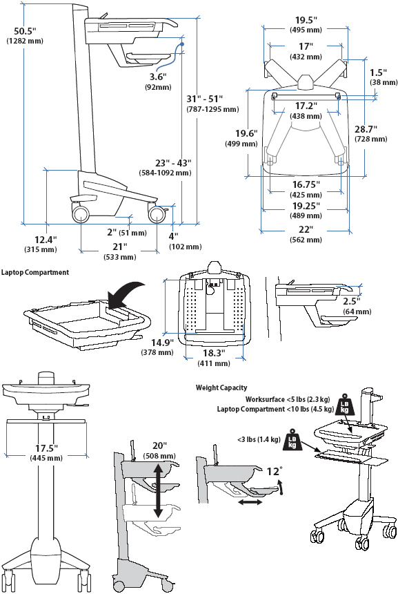 Technical Drawing of Ergotron SV40-40004 StyleView EMR Laptop Cart, non-powered