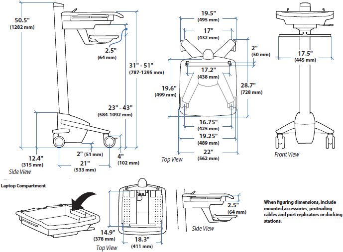 Technical Drawing of Ergotron SV40-6100-0 StyleView EMR Laptop Cart, non-powered