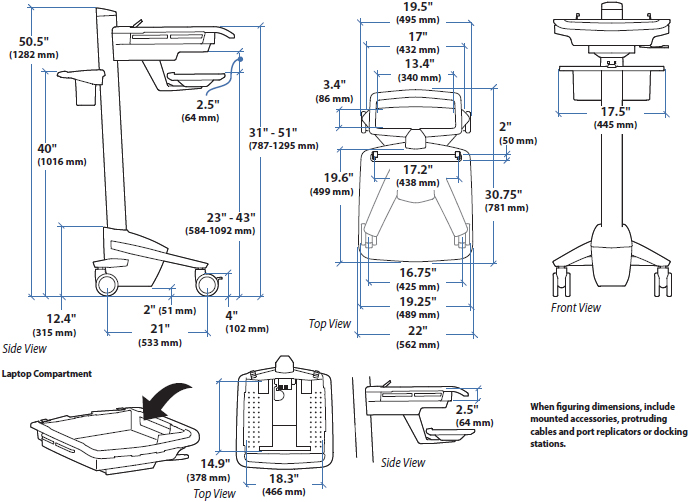 Technical Drawing of Ergotron SV41-6100-0 StyleView EMR Laptop Cart, non-powered
