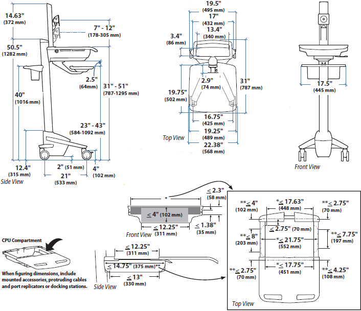Technical Drawing of Ergotron SV41-6300-0 StyleView EMR LCD Pivot Cart, non-powered