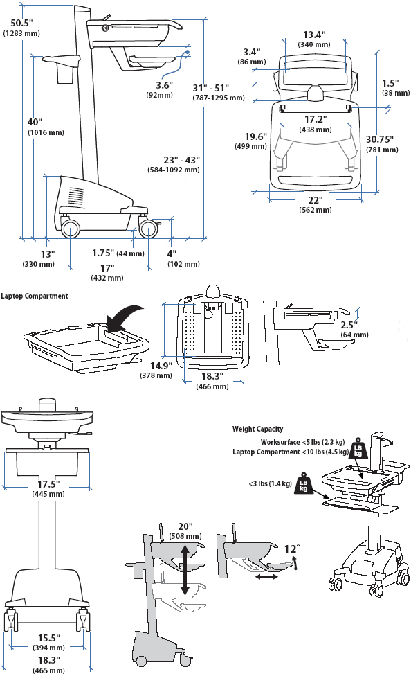 Technical Drawing of Ergotron SV42-42304 StyleView EMR Laptop Cart, LiFe Powered