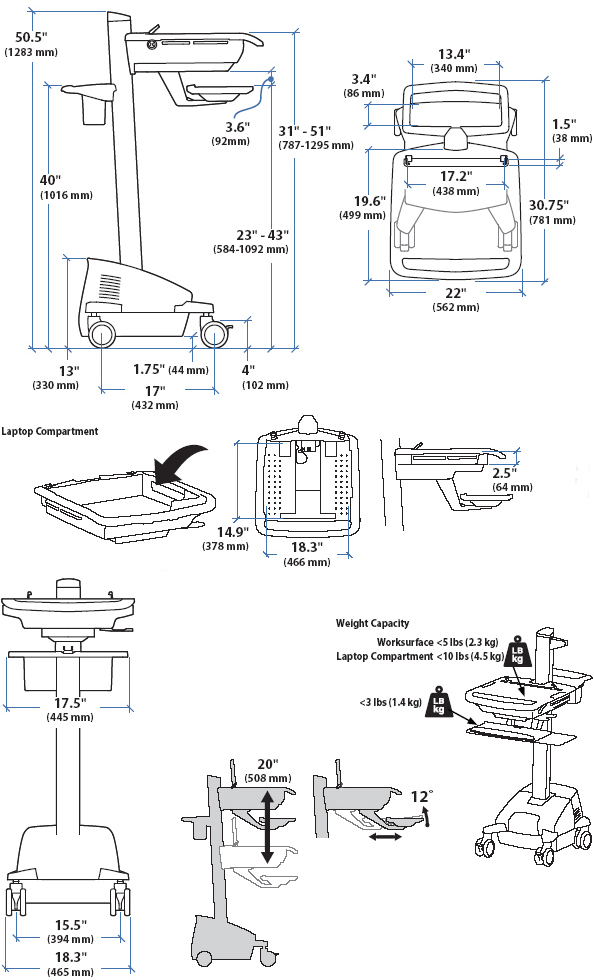 Technical Drawing of Ergotron SV42-42402 StyleView EMR Laptop Cart, Powered