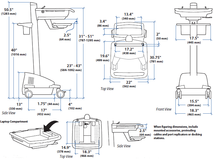 Technical Drawing of Ergotron SV42-6102-1 StyleView EMR Laptop Cart, LiFe Powered