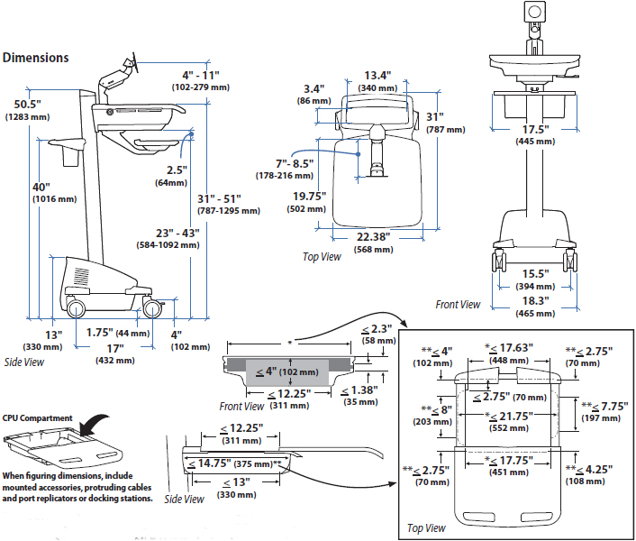 Technical Drawing of Ergotron SV42-6202-1 StyleView EMR LCD Arm Cart LiFe Powered