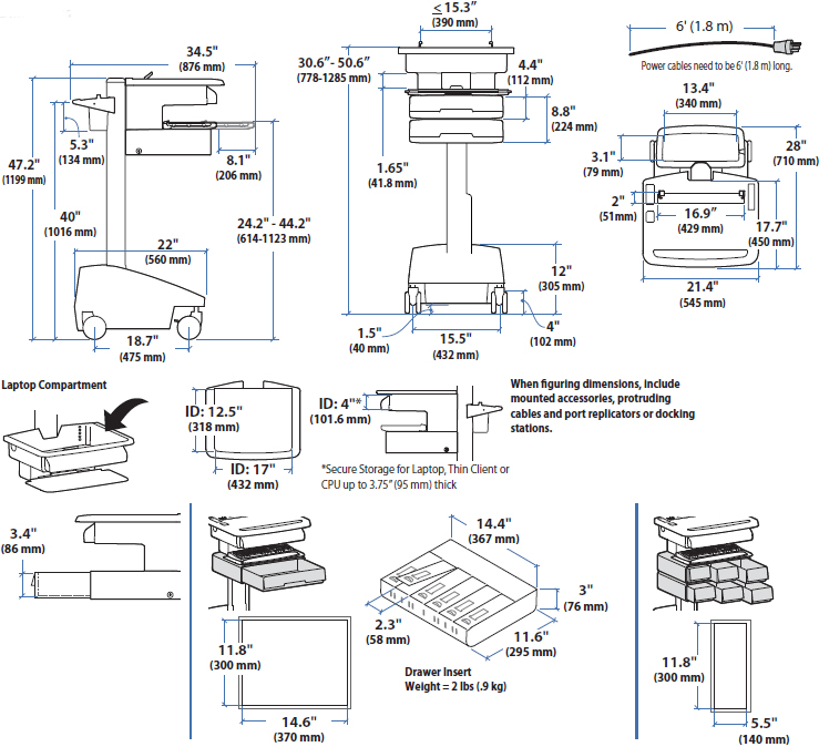Technical Drawing of Ergotron SV32-6121-1 StyleView PHD Laptop Cart with 2 Drawers, SLA Powered