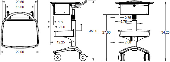 Technical drawing for Ergotron BZD04CG/CG4 Anthro Zido Phlebotomy Mobile Cart Package