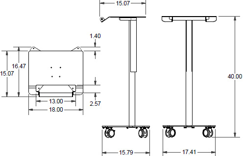 Technical drawing for Ergotron PT1GMPW3 Anthro Peanut Small Mobile Cart for Laptops