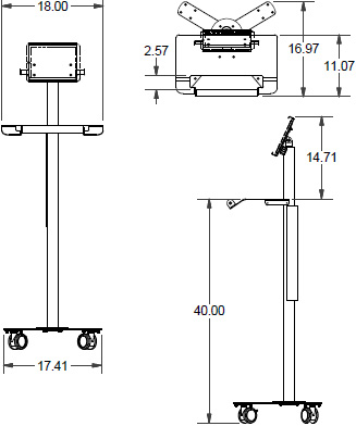 Technical drawing for Ergotron PT2GMPW3 Anthro Peanut Small Mobile Cart for Tablets