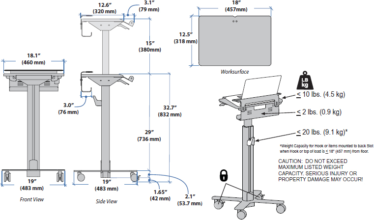 Technical drawing for Ergotron 97-998 SV10 Laptop Bracket Conversion Kit