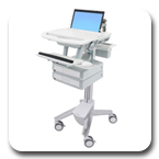 Ergotron SV41-3120-0 StyleView Healthcare Laptop Cart, non-powered, 2 Drawers