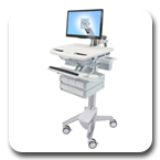 Ergotron SV41-3240-0 StyleView Cart with LCD Monitor Arm, non-powered, 4 Drawers