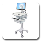 Ergotron SV41-3310-0 StyleView Ergonomic Cart with LCD Pivot, non-powered, 1 Drawer