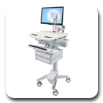 Ergotron SV41-3320-0 StyleView Healthcare Cart with LED Pivot, non-powered, 2 Drawers