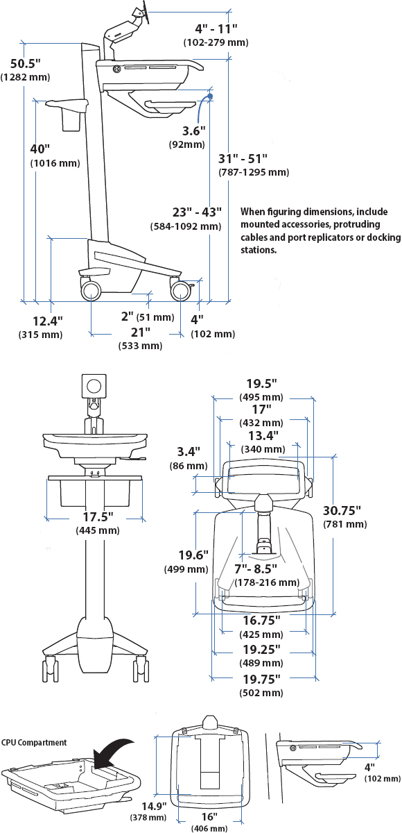 Technical Drawing for Ergotron SV41-41002 StyleView EMR LCD Monitor Arm Cart