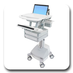 Ergotron SV42-3121-1 StyleView Medical Laptop Cart, SLA Powered, 2 Drawers