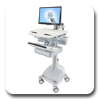 Ergotron SV42-3211-1 StyleView LED Monitor Arm Medical Cart, SLA Powered, 1 Drawer