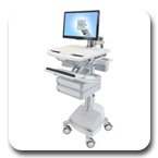 Ergotron SV42-3221-1 StyleView LCD Monitor Arm Medical Cart, SLA Powered, 2 Drawers